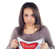 Disappointment in love. For young woman Stock Image