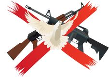 Disarmament. Flying white dove on a background of red intersecting lines. The icon means prohibiting the use of weapons and disarmament Royalty Free Stock Image