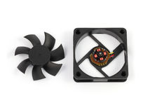 Disassemble computer fan on white background. Disassemble black computer fan on white background Royalty Free Stock Photo