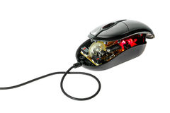 Disassemble computer optical mouse . Royalty Free Stock Photos