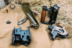 Disassembled格言` s机枪的零件塑造1910 30 Pm M191 免版税库存照片