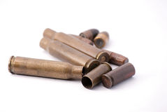 Disassembled ammunition. Rusty disassembled ammunition for rifle and gun Royalty Free Stock Photos