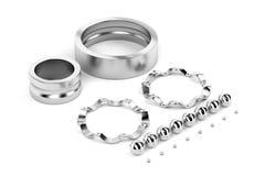 Disassembled ball bearing. On white background, 3D illustration Royalty Free Stock Photo