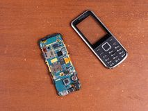 Disassembled broken cell phone repair Stock Image