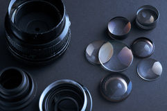 Disassembled camera lenses Stock Images