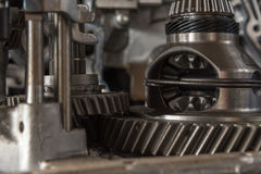 Disassembled car dirty engine and gear at garage royalty free stock image