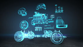 Disassembled car, engine, safety seat, Instrument panel, navigation, Accelerator, car audio system, tires, x-ray image.