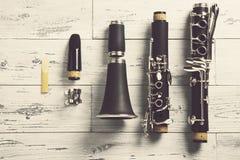 Disassembled clarinet Stock Photos