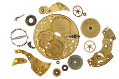 Disassembled clockwork mechanism - various part of clockwork mec Royalty Free Stock Photography