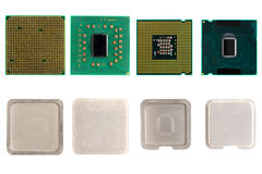 The disassembled computer processor. Half-and-half stock images