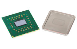Disassembled CPU, metallic cover is removed Royalty Free Stock Photos