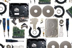 Disassembled hard disk drive. Parts isolated on a white background Royalty Free Stock Images