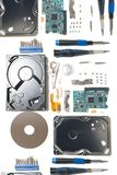 Disassembled hard disk drive. Parts isolated on a white background Stock Image