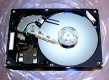 Disassembled hard drive from the computer stock photos