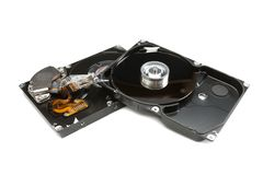 Disassembled HDD. Isolate on white stock photography