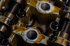 Disassembled internal combustion engine, close-up of the unit head royalty free stock images