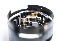Disassembled lens closeup - camera technology macro - mechatroni Royalty Free Stock Images