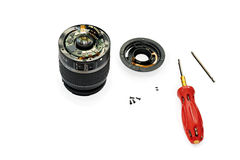 Disassembled lens. Royalty Free Stock Photos