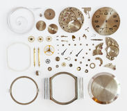 Disassembled mechanical wrist watch. Disassembled mechanical wristwatches and stacked stock photography
