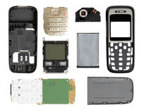 Disassembled mobile phone on a white background. Disassembled mobile phone. white background stock image