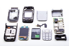 Disassembled mobile phone stock photos
