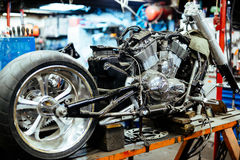 Disassembled Motorcycle In Customizing Workshop Stock Photos