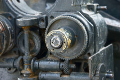 Disassembled the old iron mechanism. Close-up Stock Photography