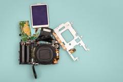 Disassembled  photo camera Stock Photos