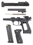 Disassembled pistol Royalty Free Stock Images