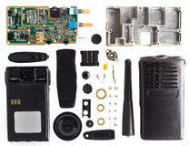 The disassembled portable radio set Stock Photo