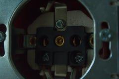 Disassembled power socket. Installation of the power socket royalty free stock photos