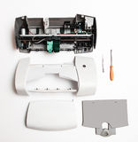Disassembled printer on a white background Royalty Free Stock Photography