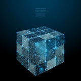 Disassembled puzzle cube low poly blue. Abstract image of a 3D Disassembled Puzzle cube in the form of a starry sky or space, consisting of points, lines, and Royalty Free Stock Photo