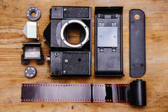 Disassembled rangefinder camera. Royalty Free Stock Photo