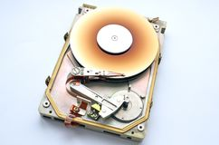 Disassembled Rare hard drive. Interface MFM/ST 412 form factor of 5.25. The drive capacity is 40 megabytes royalty free stock photo