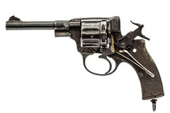 Disassembled revolver, pistol mechanism with the hammer cocked, Royalty Free Stock Photography