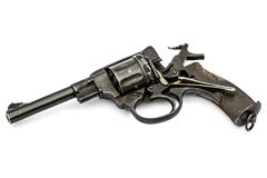 Disassembled revolver, pistol mechanism with the hammer cocked, Stock Photography