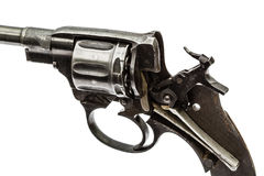 Disassembled revolver, pistol mechanism with the hammer cocked, Royalty Free Stock Images