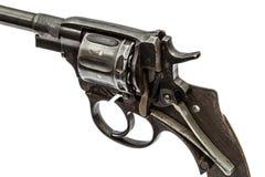 Disassembled revolver, pistol mechanism, isolated on white backg Stock Photography