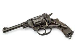 Disassembled revolver, pistol mechanism, isolated on white backg Stock Photos