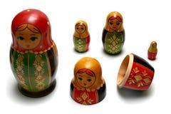 Disassembled russian matreshka toys Royalty Free Stock Images