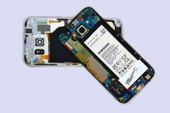 A disassembled Samsung cellphone Royalty Free Stock Image