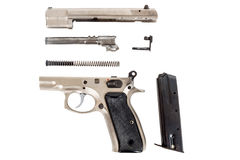 Disassembled Semi-automatic gun Royalty Free Stock Photo