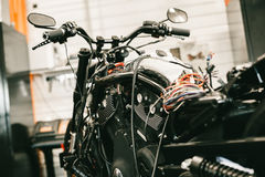Disassembled Sports Black Motorcycle Electronics Repair. Stock Photography