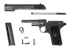 Disassembled tt-t traumatic gun Royalty Free Stock Images