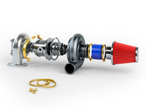 Disassembled turbocharger sistem with air filter Royalty Free Stock Image