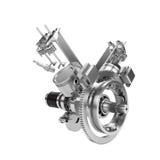 Disassembled V2 engine of large powerful motorbike Royalty Free Stock Image