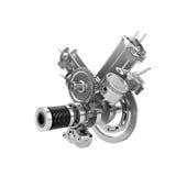 Disassembled V2 engine of large powerful motorbike Stock Photos
