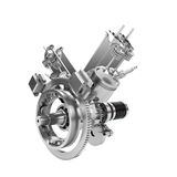 Disassembled V2 engine of large powerful motorbike isolated Stock Photography