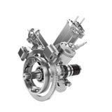 Disassembled V2 Engine Of Large Powerful Motorbike Isolated Stock Photography